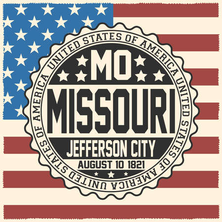Decorative stamp with text United States of America, MO, Missouri, Jefferson City, August 10, 1821 on USA flag. Illustration