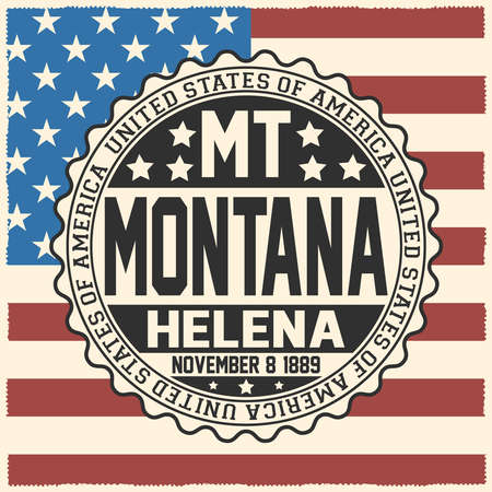 Decorative stamp with text United States of America, MT, Montana, Helena, November 8, 1889 on USA flag.