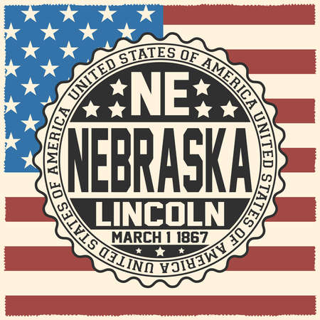 Decorative stamp with text United States of America, NE, Nebraska, Lincoln, March 1, 1867 on USA flag.