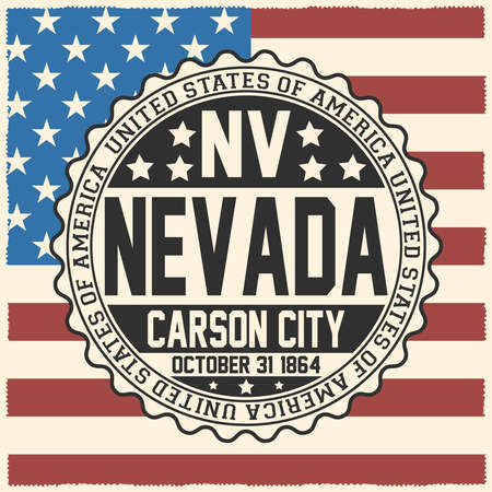 Decorative stamp with text United States of America, NV, Nevada, Carson City, October 31, 1864 on USA flag. Çizim