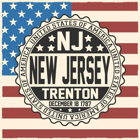 Decorative stamp with text United States of America, NJ, New Jersey, Trenton, December 18, 1787 on USA flag.