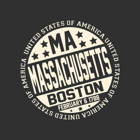 Decorative stamp on black background with postal abbreviation MA, state name Massachusetts, capital Boston and date become a state February 6, 1788 with text United States of America around it.