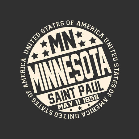 Decorative stamp on black background with postal abbreviation MN, state name Minnesota, capital Saint Paul and date become a state May 11, 1858 with text United States of America around it.