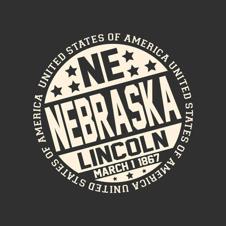 Decorative stamp on black background with postal abbreviation NE, state name Nebraska, capital Lincoln and date become a state March 1, 1867 with text United States of America around it. Illustration