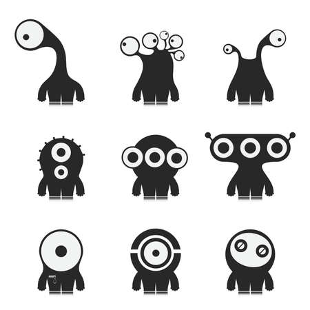 Set of nine cute black monsters isolated on white
