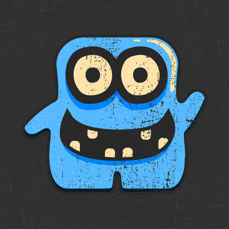 Funny blue monster on grunge black background. cartoon illustration.