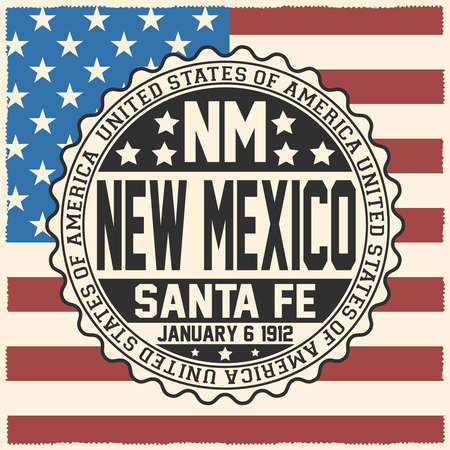 Decorative stamp with text United States of America, NM, New Mexico, Santa Fe, January 6, 1912 on USA flag.