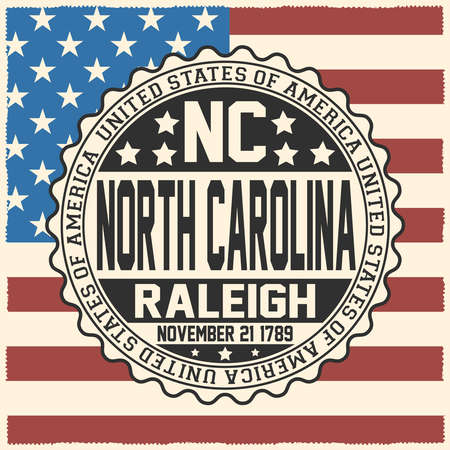 Decorative stamp with text United States of America, NC, North Carolina, Raleigh, November 21, 1789 on USA flag.