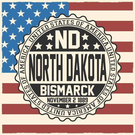 Decorative stamp with text United States of America, ND, North Dakota, Bismarck, November 2, 1889 on USA flag.