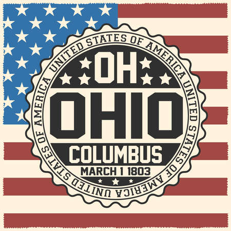 Decorative stamp with text United States of America, OH, Ohio, Columbus, March 1, 1803 on USA flag.