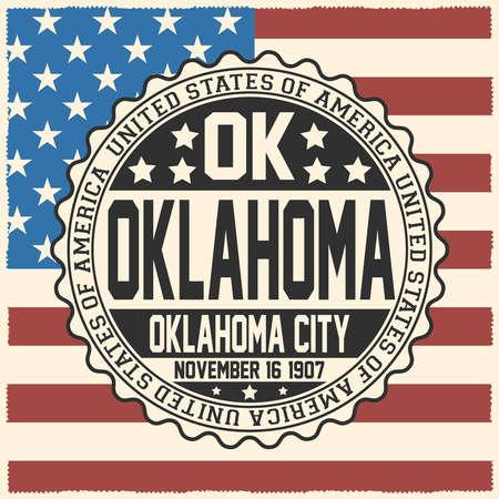 Decorative stamp with text United States of America, OK, Oklahoma, Oklahoma City, November 16, 1907 on USA flag. Çizim