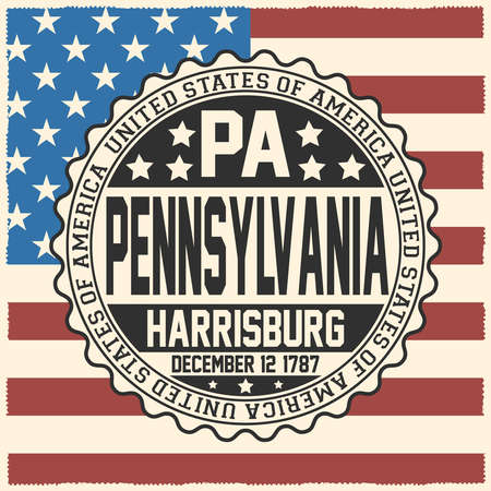 Decorative stamp with text United States of America, PA, Pennsylvania, Harrisburg, December 12, 1787 on USA flag.