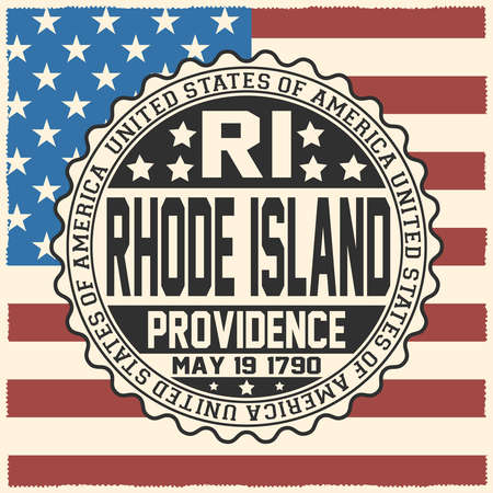 Decorative stamp with text United States of America, RI, Rhode Island, Providence, May 19, 1790 on USA flag.