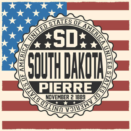 Decorative stamp with text United States of America, SD, South Dakota, Pierre, November 2, 1889 on USA flag.