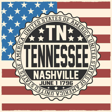 Decorative stamp with text United States of America, TN, Tennessee, Nashville, June 1, 1796 on USA flag.