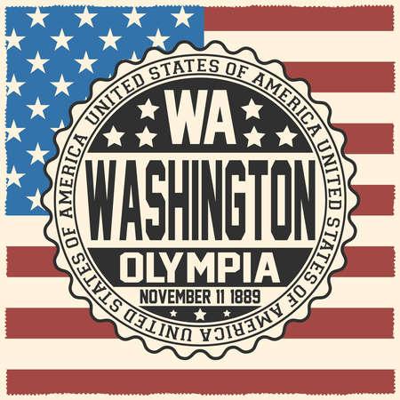 Decorative stamp with text United States of America, WA, Washington, Olympia, November 11, 1889 on USA flag.