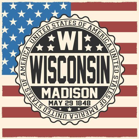Decorative stamp with text United States of America, WI, Wisconsin, Madison, May 29, 1848 on USA flag. Ilustração