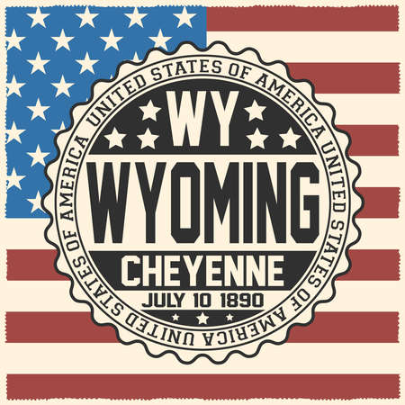 Decorative stamp with text United States of America, WY, Wyoming, Cheyenne, July 10, 1890 on USA flag 일러스트