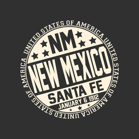 Decorative stamp on black background with postal abbreviation NM, state name New Mexico, capital Santa Fe and date become a state January 6, 1912 with text United States of America around it. Illustration