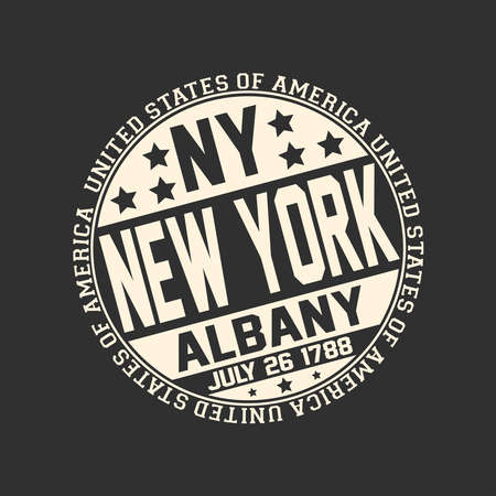 Decorative stamp on black background with postal abbreviation NY, state name New York, capital Albany and date become a state July 26, 1788 with text United States of America around it.