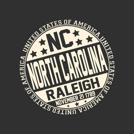 Decorative stamp on black background with postal abbreviation NC, state name North Carolina, capital Raleigh and date become a state November 21, 1789 with text United States of America around it.