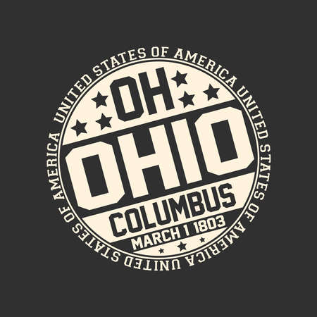 Decorative stamp on black background with postal abbreviation OH, state name Ohio, capital Columbus and date become a state March 1, 1803 with text United States of America around it. Çizim