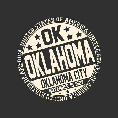 Decorative stamp on black background with postal abbreviation OK, state name Oklahoma, capital Oklahoma City and date become a state November 16, 1907 with text United States of America around it.
