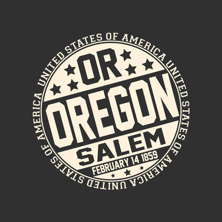 Decorative stamp on black background with postal abbreviation OR, state name Oregon, capital Salem and date become a state February 14, 1859 with text United States of America around it. Çizim