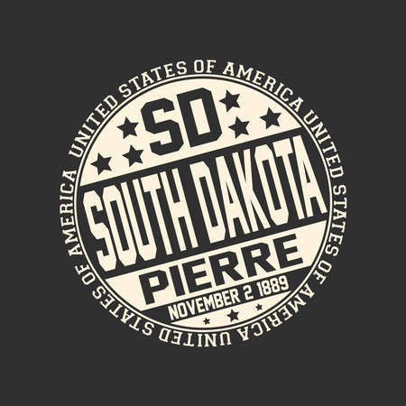 Decorative stamp on black background with postal abbreviation SD, state name South Dakota, capital Pierre and date become a state November 2, 1889 with text United States of America around it.