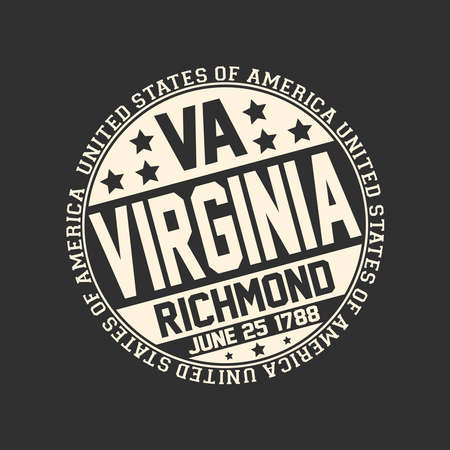 Decorative stamp on black background with postal abbreviation VA, state name Virginia, capital Richmond and date become a state June 25, 1788 with text United States of America around it. Çizim