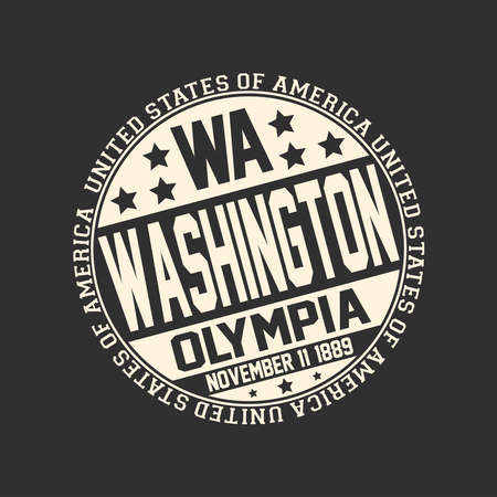 Decorative stamp on black background with postal abbreviation WA, state name Washington, capital Olympia and date become a state November 11, 1889 with text United States of America around it