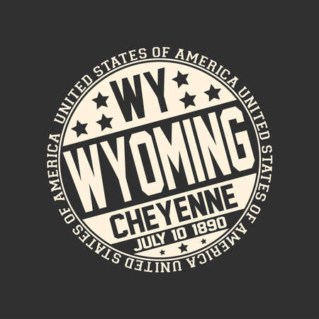 Decorative stamp on black background with postal abbreviation WY, state name Wyoming, capital Cheyenne and date become a state July 10, 1890 with text United States of America around it. 일러스트