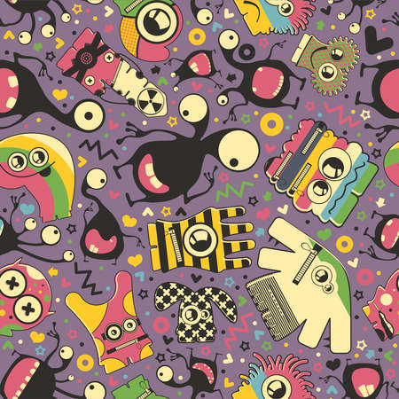 Cute monsters - seamless pattern