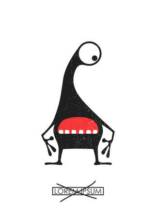 Black cute monster isolated on white with grunge shapes on it and simple text in frame.