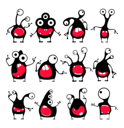 Set of twelve cute black monsters with different emotions isolated on white.