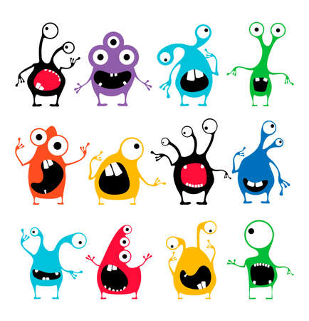 Set of twelve cute color monsters with different emotions isolated on white.