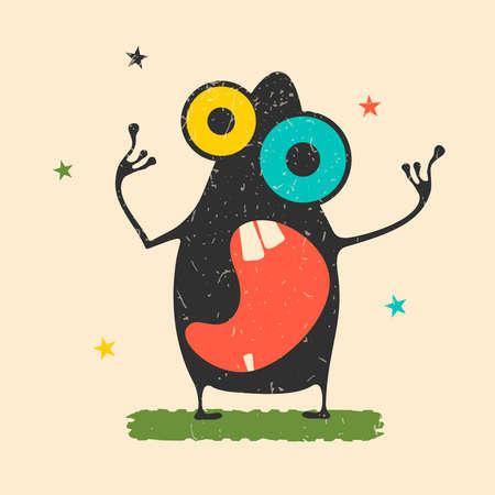 Cute black monster with emotions on retro grunge Иллюстрация