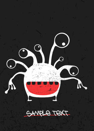 White cute monster on black grunge  with text