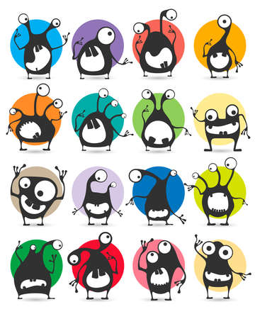 Set of sixteen color stickers with cute monsters.