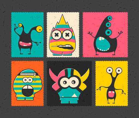 Set of six retro postage`s stamp with funny monsters on different color