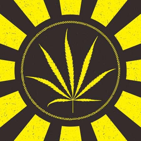 Yellow cannabis leaf in circle. Иллюстрация
