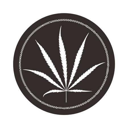 White cannabis leaf in circle. Иллюстрация