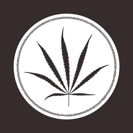 Black cannabis leaf in circle.