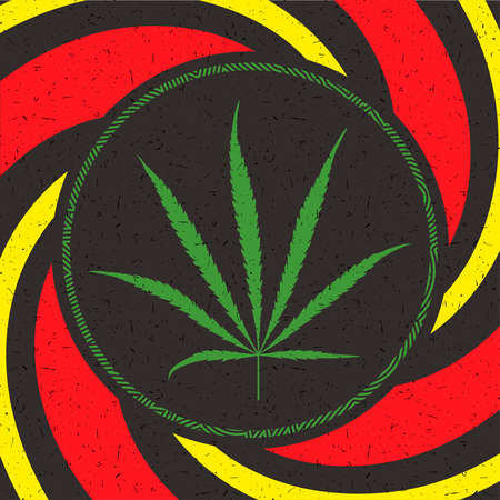 Green cannabis leaf in circle.
