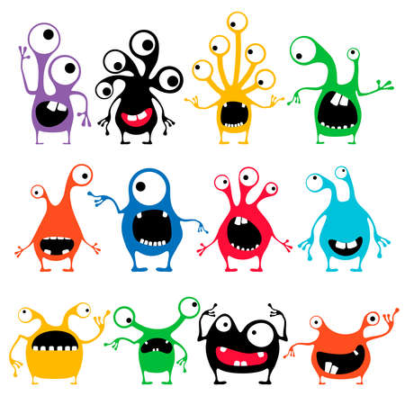 Set of twelve cute color monster with emotions isolated on white Иллюстрация