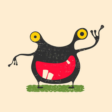 Happy monster with yellow eyes standing on green grass. Cute alien on grunge