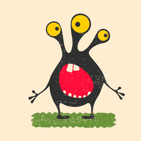 Happy monster with yellow eyes standing on green grass