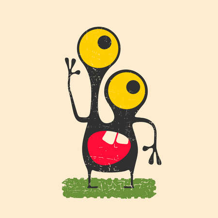 Happy monster with yellow eyes standing on green grass.