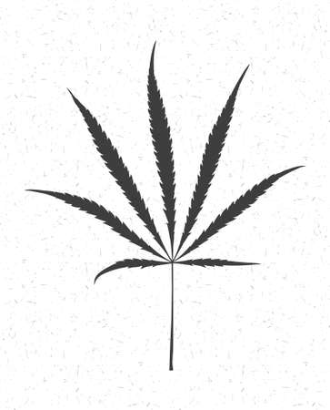 Black cannabis leaf isolated on white with grunge shapes