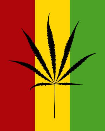 Black cannabis leaf on rastafarian flag Иллюстрация